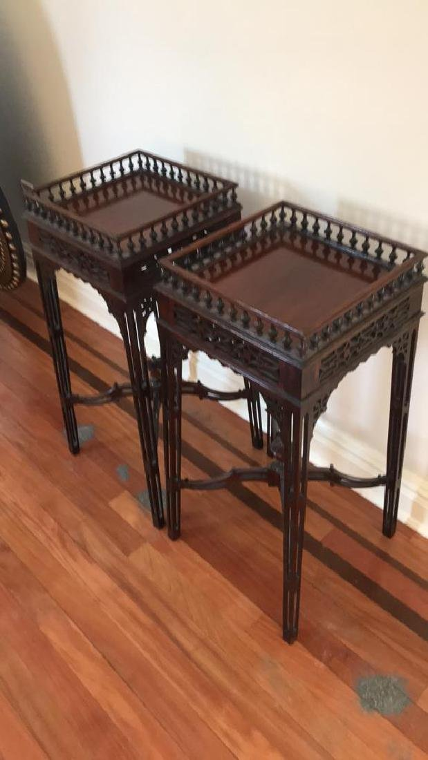 PAIR OF MAHOGANY PLANT STANDS - 3