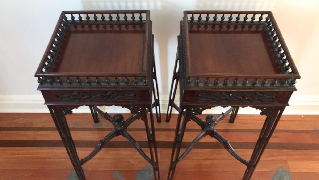 PAIR OF MAHOGANY PLANT STANDS - 4