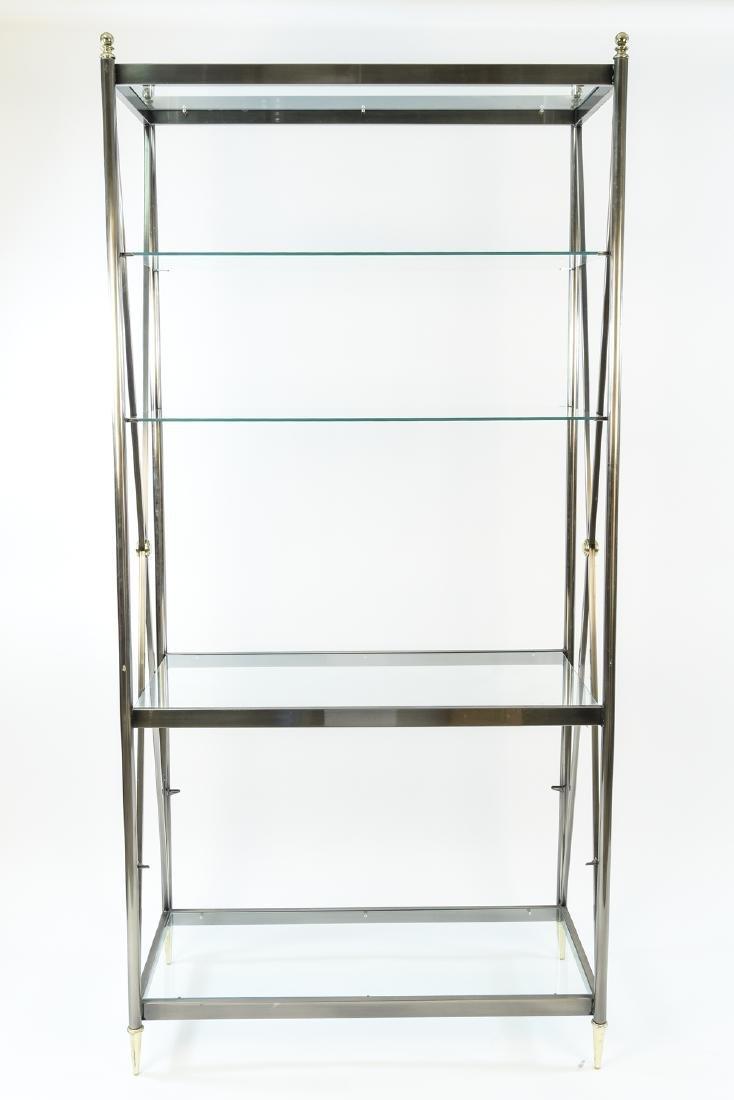 MID-CENTURY METAL & GLASS ETAGERE