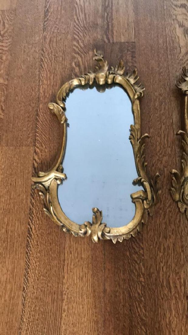 PAIR OF CARVED WOOD GILT MIRRORS - 2