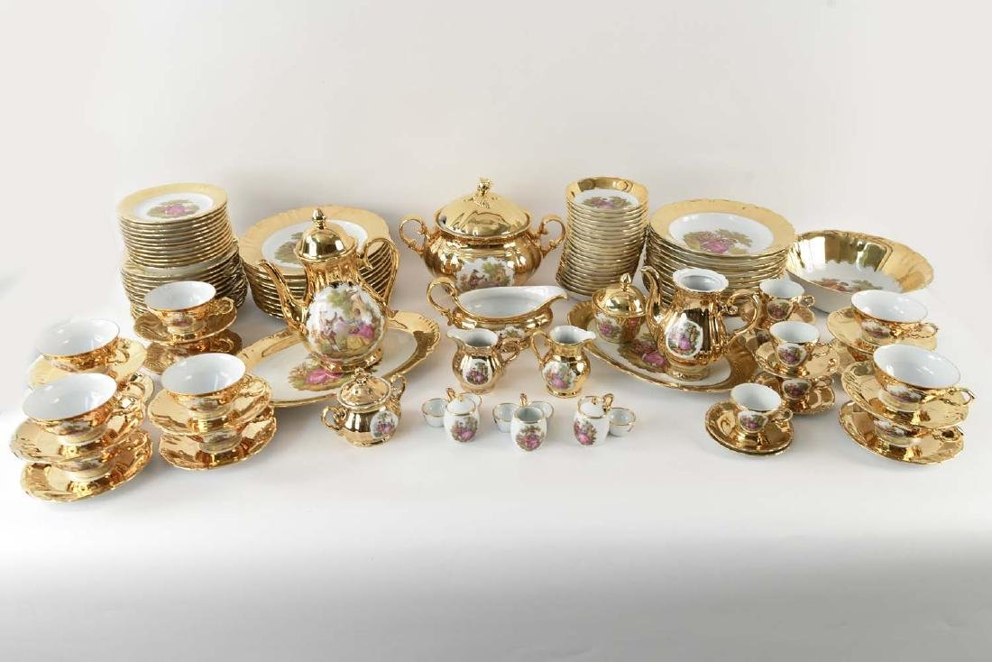 BAVARIA GERMANY ETC GOLD TONE PORCELAIN SERVICE