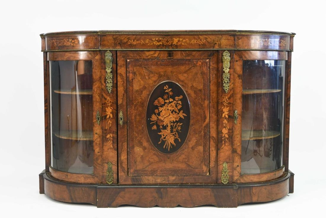 ANTIQUE INLAID AND ORMOLU SIDEBOARD CABINET