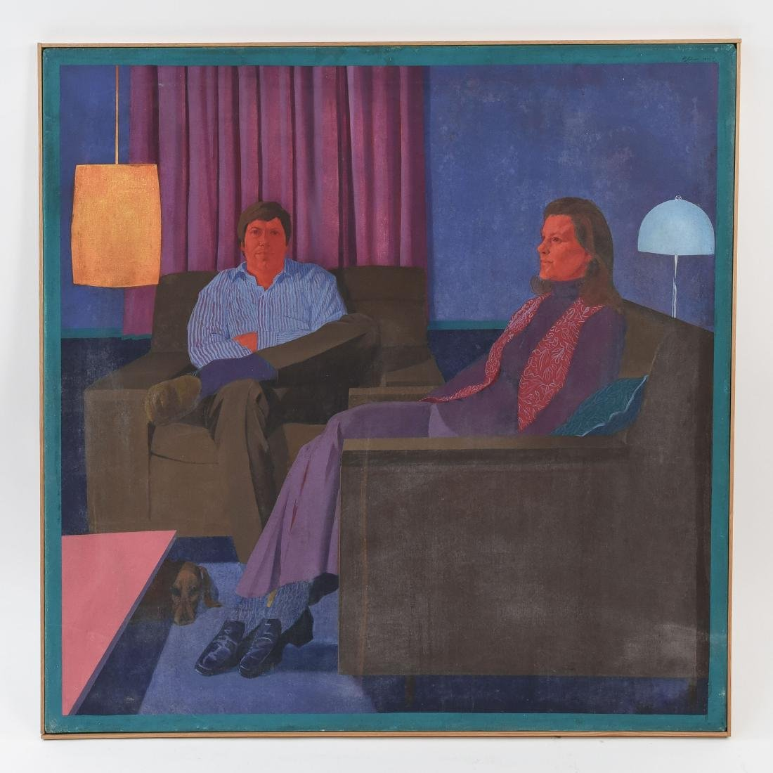 MID-CENTURY MODERN PORTRAIT OF SEATED COUPLE