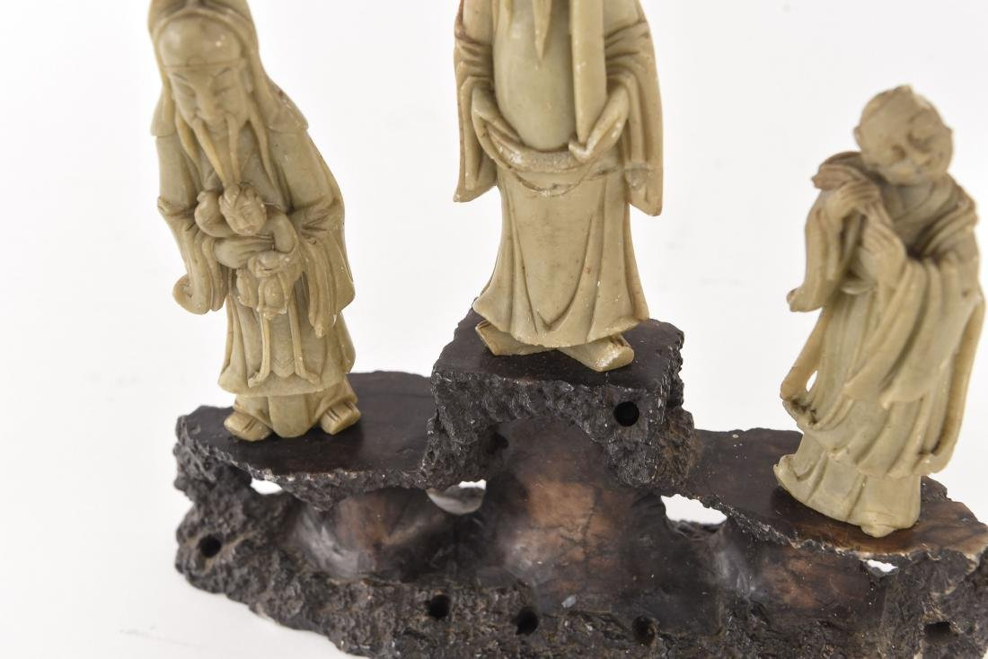 CHINESE CARVED SOAPSTONE SCHOLAR SCULPTURE - 3