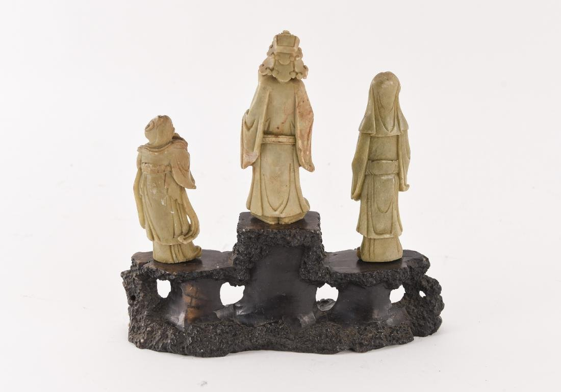 CHINESE CARVED SOAPSTONE SCHOLAR SCULPTURE - 8