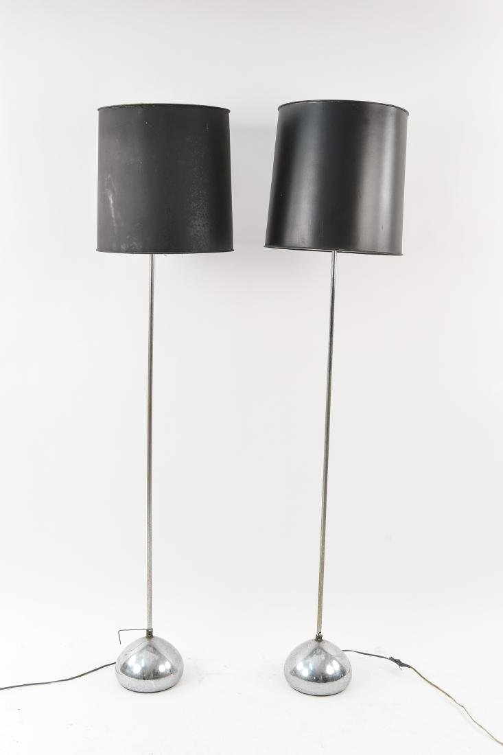 PAIR OF CHROME BALL FLOOR LAMPS