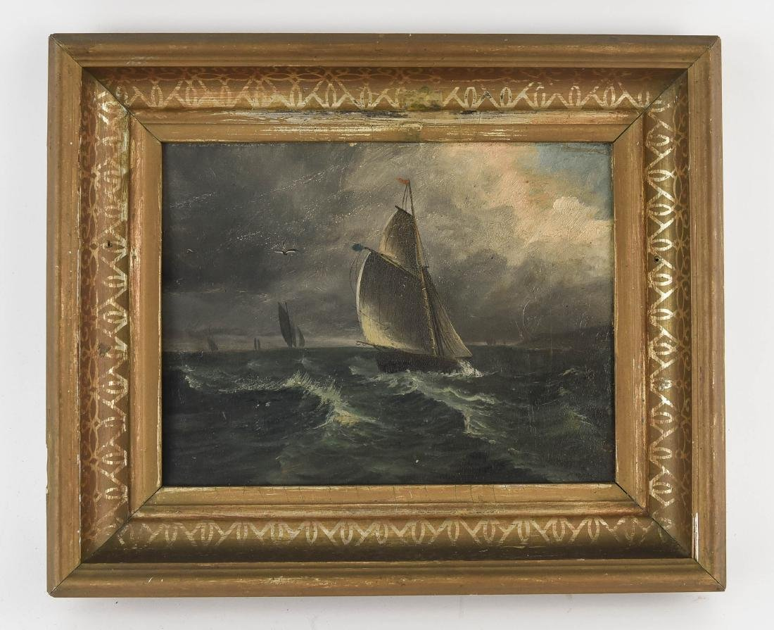 ANTIQUE OIL ON BOARD SHIP SEASCAPE PAINTING