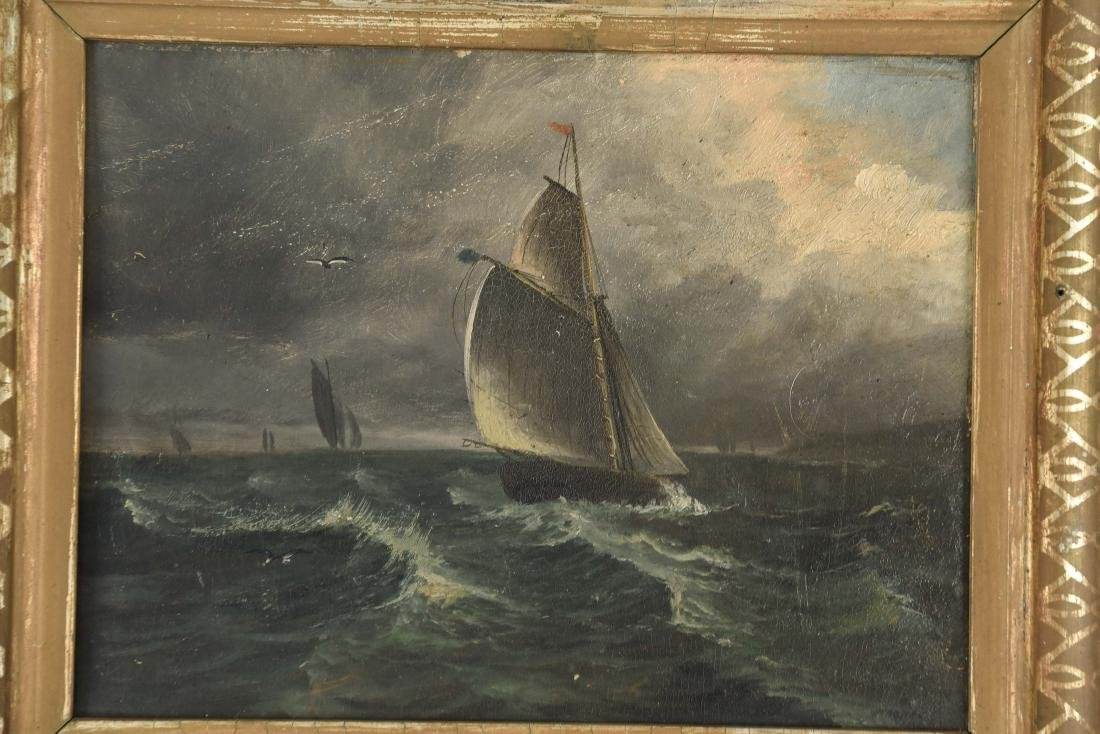 ANTIQUE OIL ON BOARD SHIP SEASCAPE PAINTING - 2