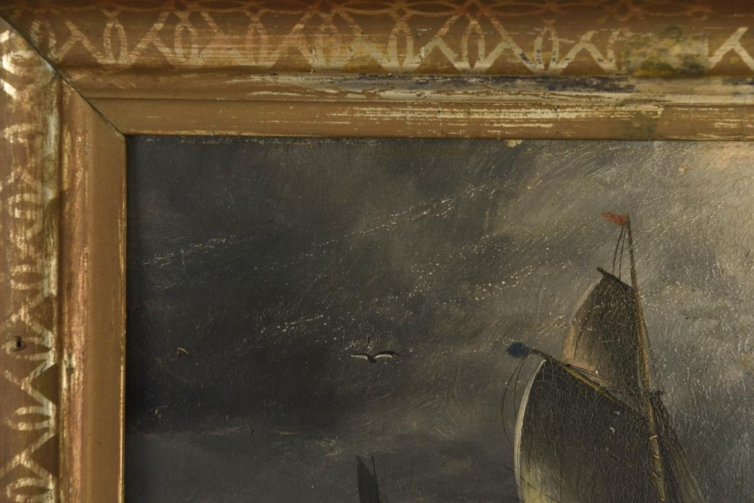 ANTIQUE OIL ON BOARD SHIP SEASCAPE PAINTING - 3