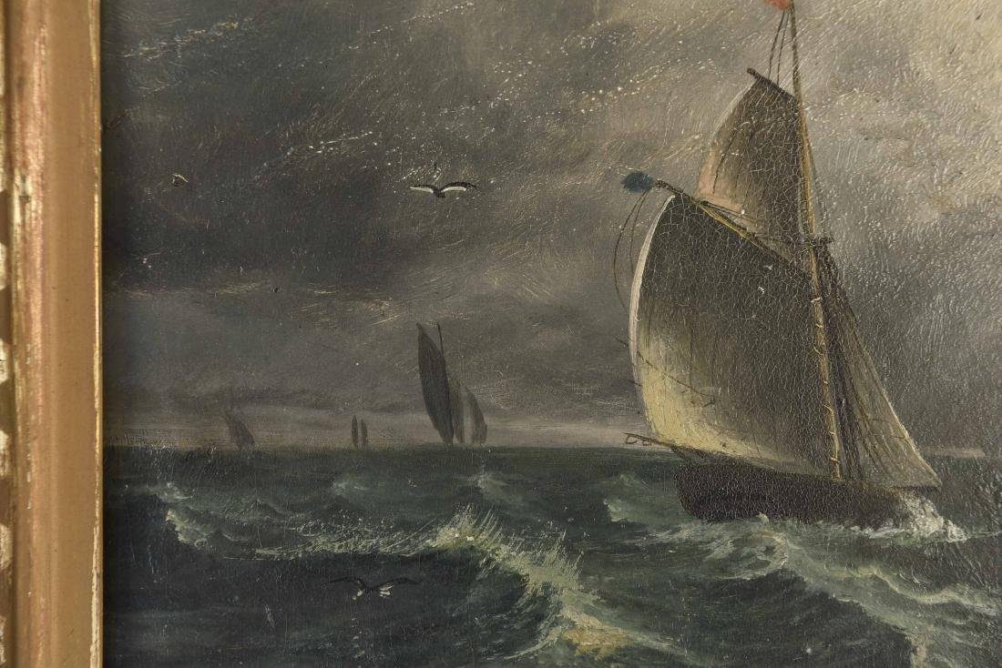 ANTIQUE OIL ON BOARD SHIP SEASCAPE PAINTING - 4