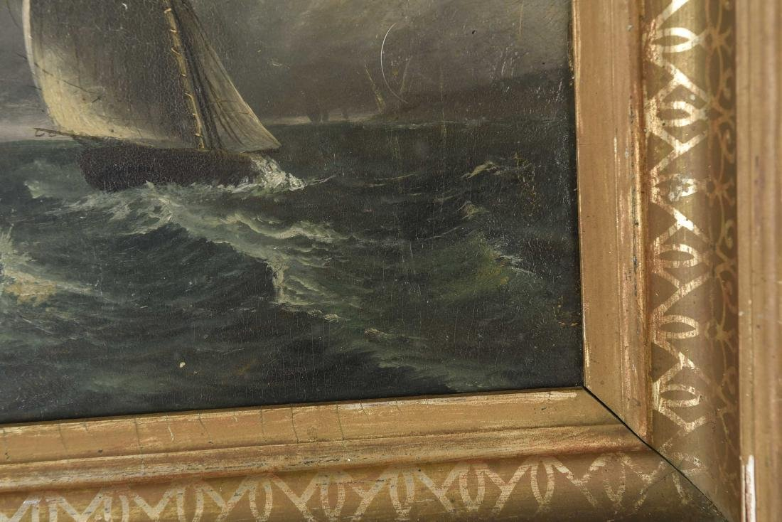 ANTIQUE OIL ON BOARD SHIP SEASCAPE PAINTING - 6
