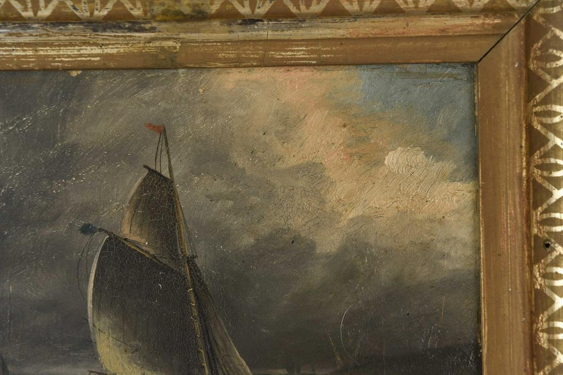 ANTIQUE OIL ON BOARD SHIP SEASCAPE PAINTING - 7