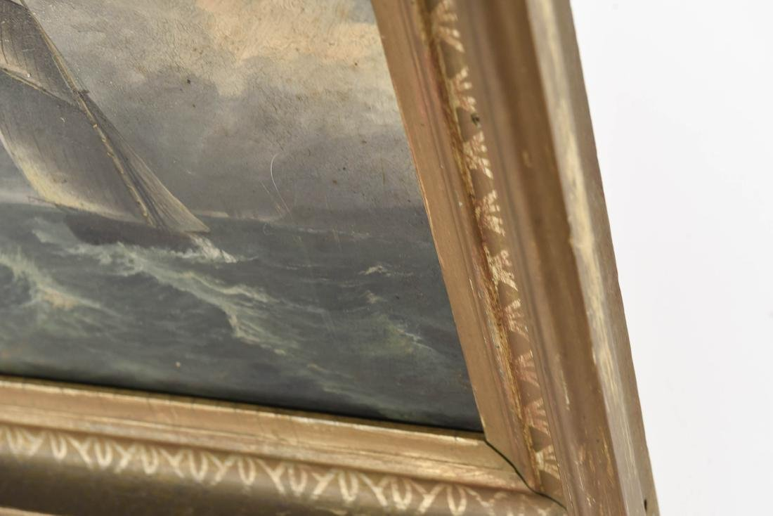 ANTIQUE OIL ON BOARD SHIP SEASCAPE PAINTING - 8