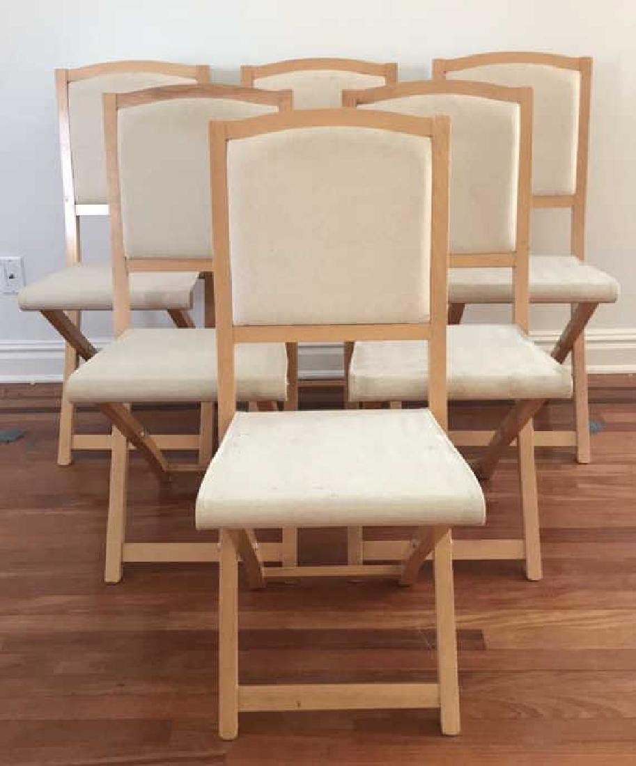 (6) ITALIAN WOOD AND CANVAS FOLDING CHAIRS