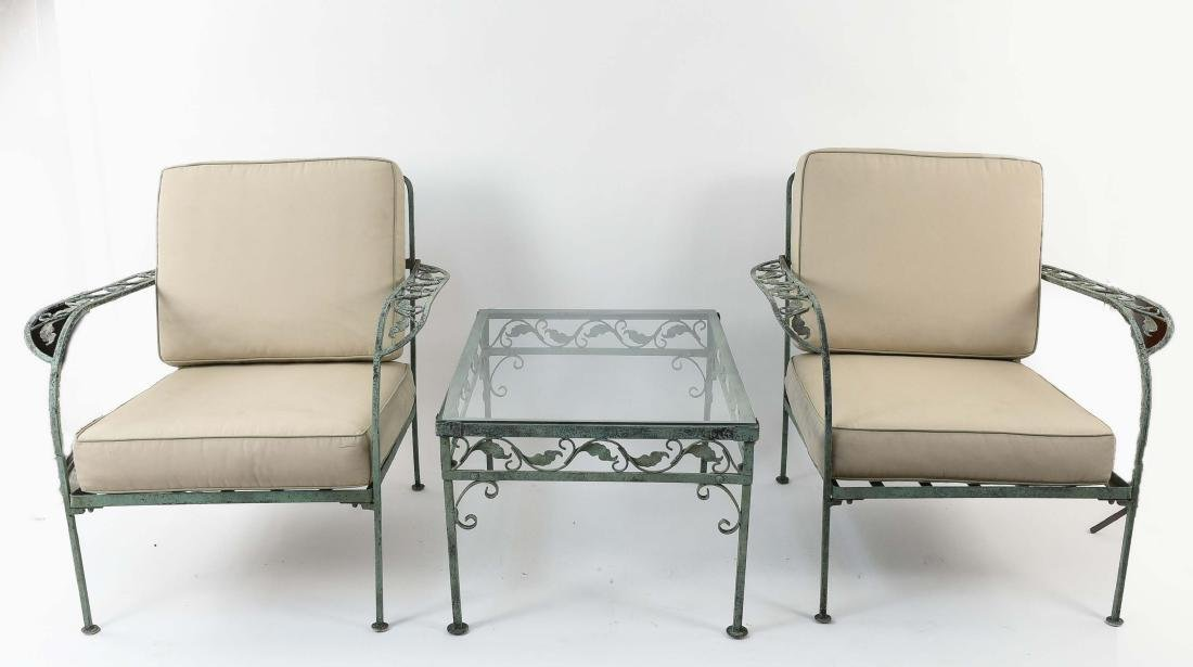 PAIR OF OUTDOOR IRON CHAIRS & TABLE