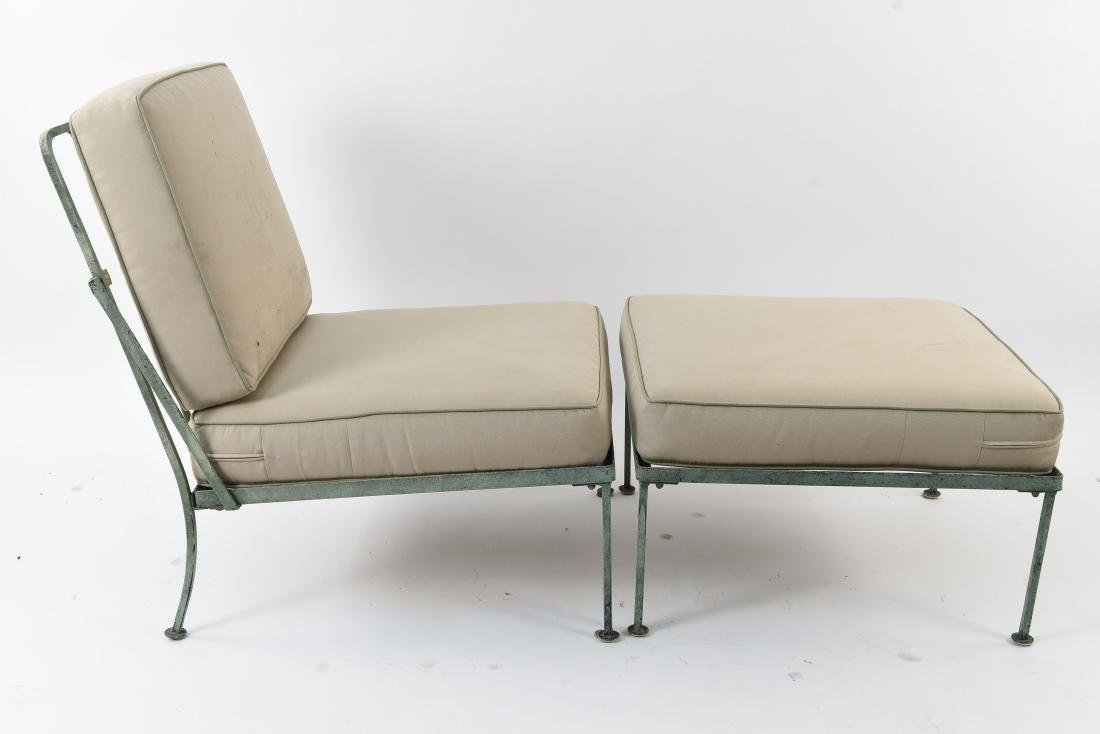OUTDOOR IRON LOUNGE CHAIR & OTTOMAN