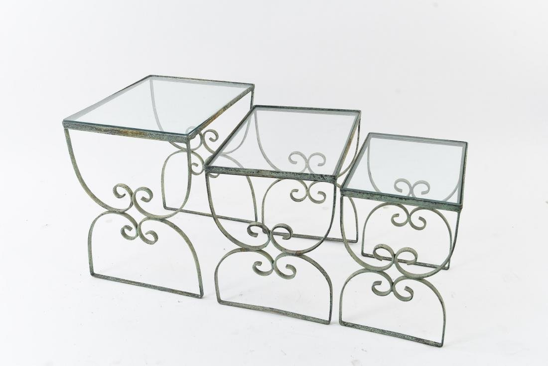 SET OF (3) OUTDOOR IRON NESTING TABLES