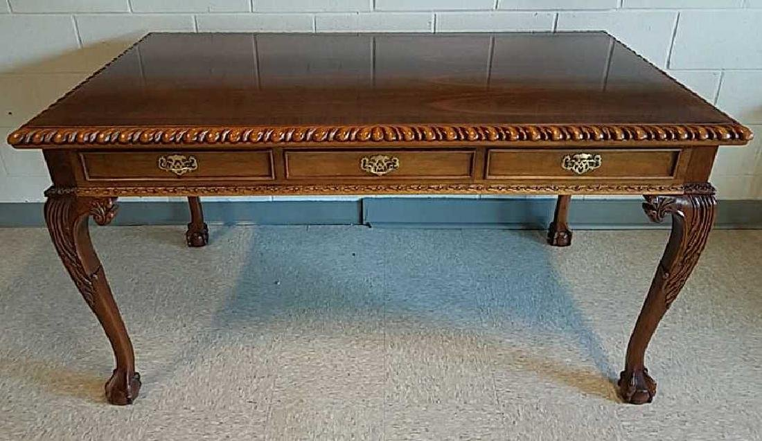CARVED MAHOGANY BALL AND CLAW FOOT DESK