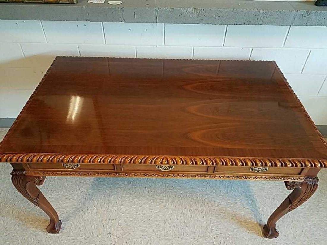 CARVED MAHOGANY BALL AND CLAW FOOT DESK - 2