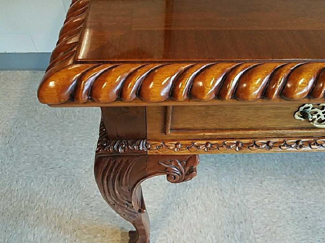 CARVED MAHOGANY BALL AND CLAW FOOT DESK - 4