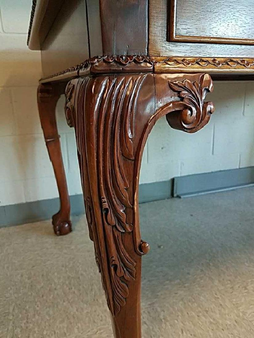 CARVED MAHOGANY BALL AND CLAW FOOT DESK - 6