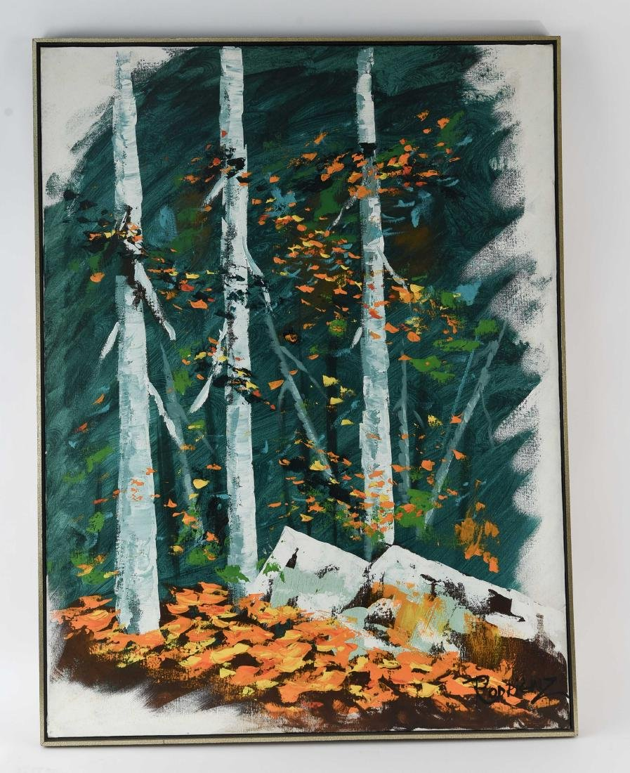 OIL ON CANVAS MID-CENTURY BIRCH TREES
