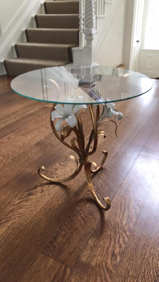 GILT AND ENAMEL METAL FLOWER SIDE TABLE