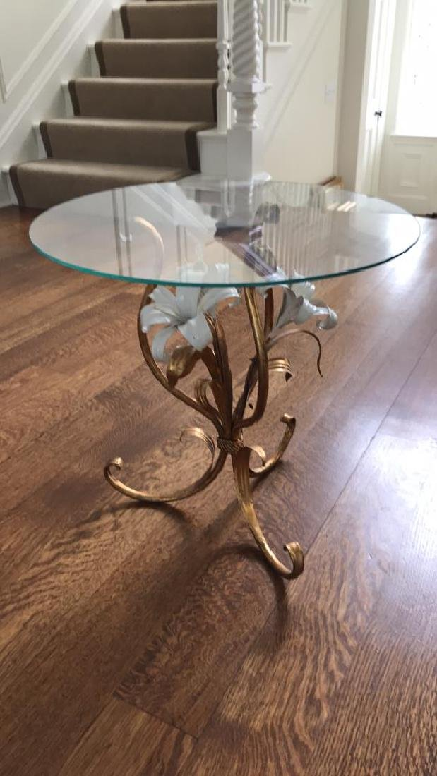 GILT AND ENAMEL METAL FLOWER SIDE TABLE