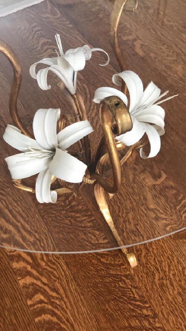 GILT AND ENAMEL METAL FLOWER SIDE TABLE - 4