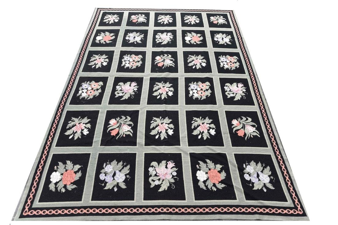 LARGE GREEN AND BLACK WOOL RUG