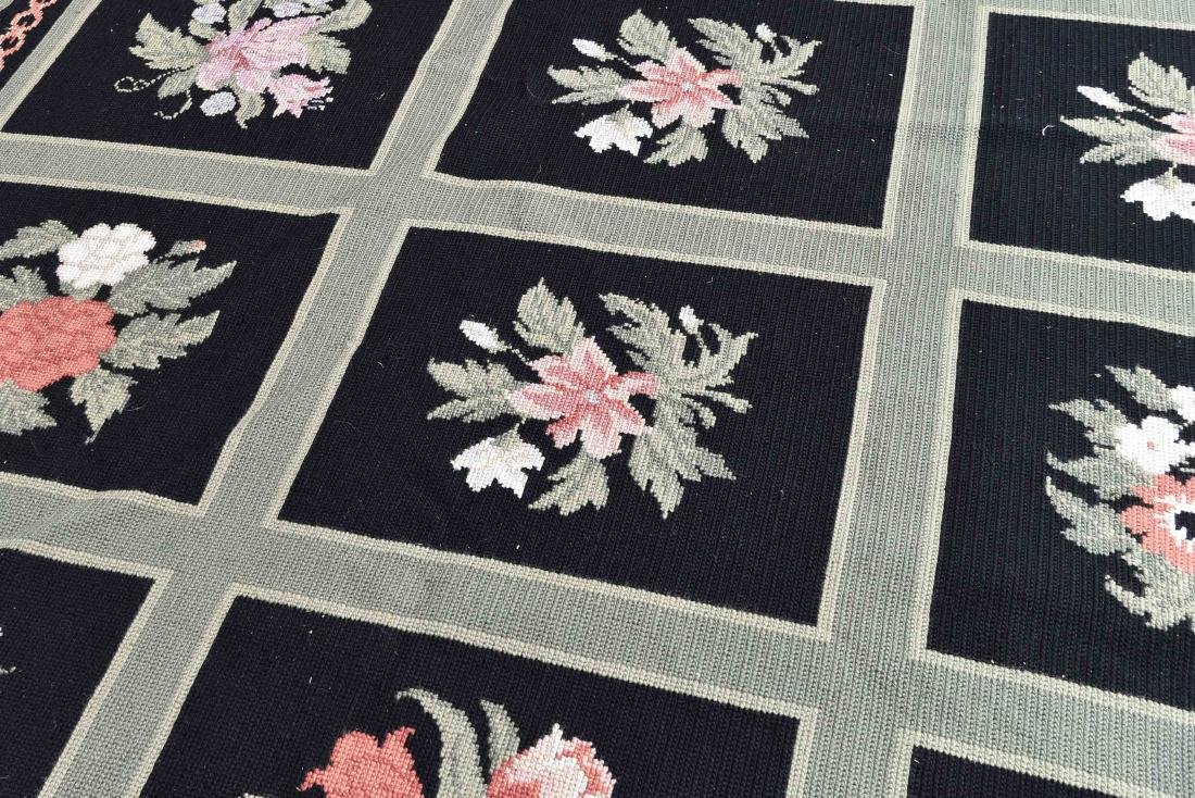 LARGE GREEN AND BLACK WOOL RUG - 4