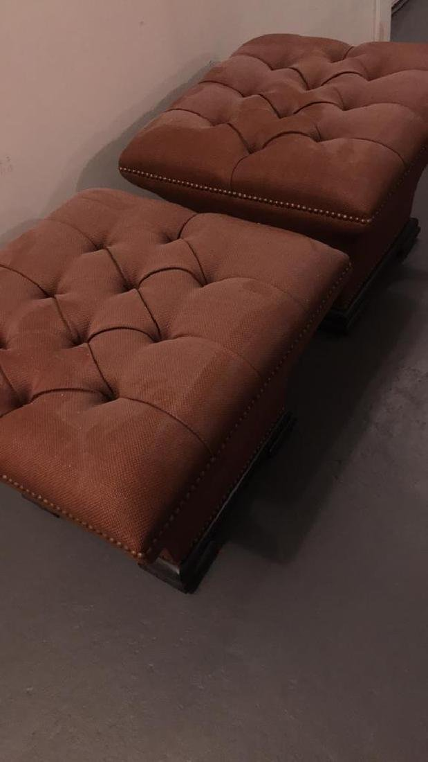 PAIR OF BAKER TUFTED OTTOMANS - 2