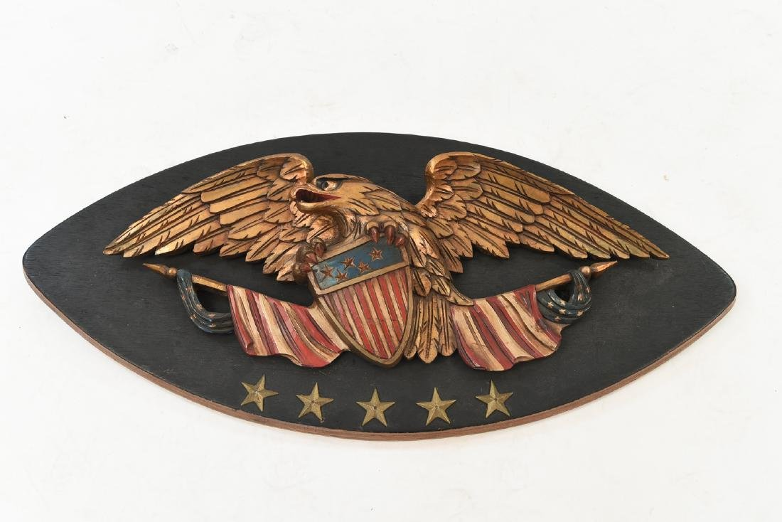 CARVED WOOD AND PAINTED EAGLE PLAQUE