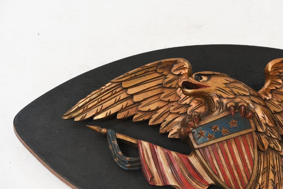 CARVED WOOD AND PAINTED EAGLE PLAQUE - 2