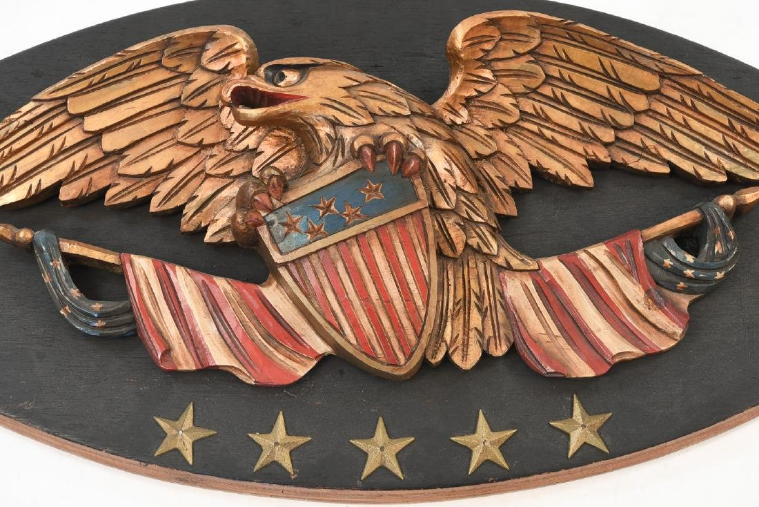 CARVED WOOD AND PAINTED EAGLE PLAQUE - 3