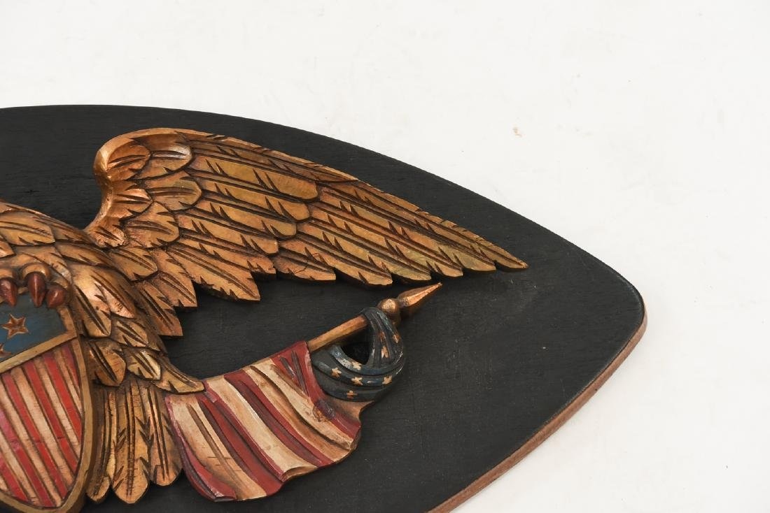 CARVED WOOD AND PAINTED EAGLE PLAQUE - 4