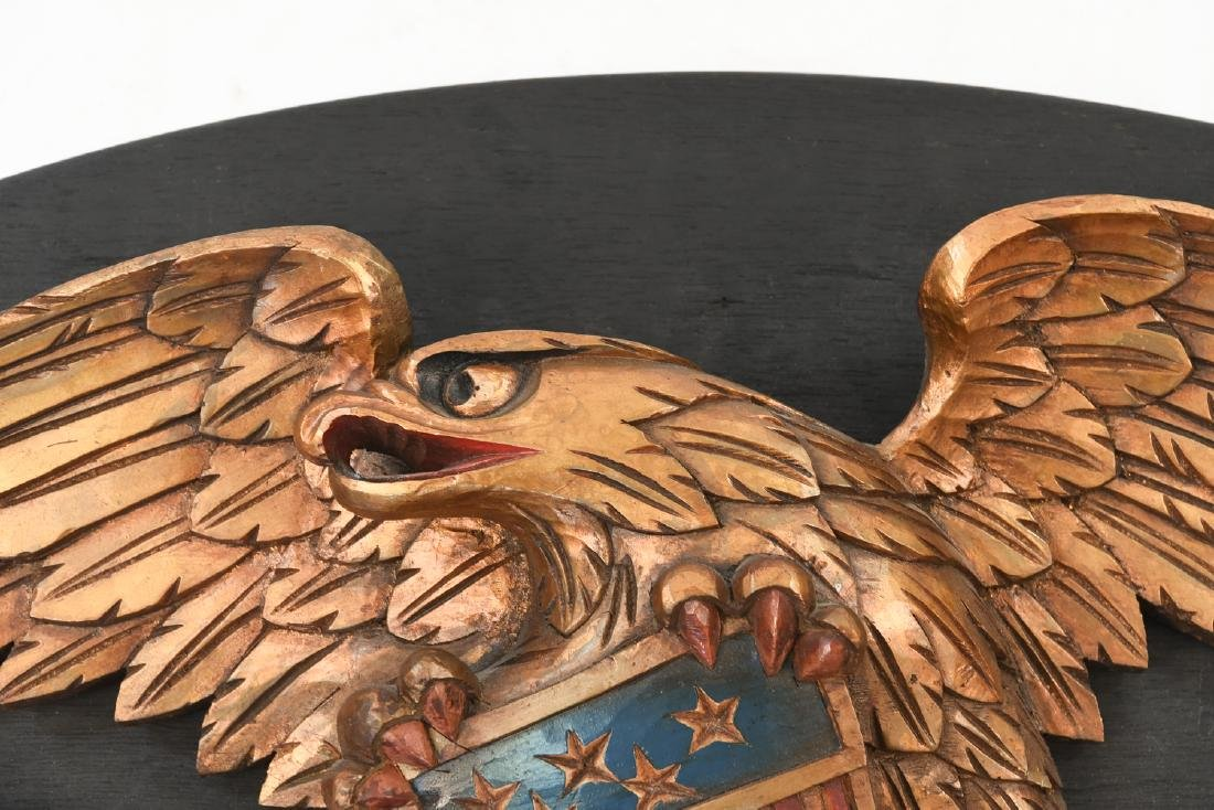 CARVED WOOD AND PAINTED EAGLE PLAQUE - 5
