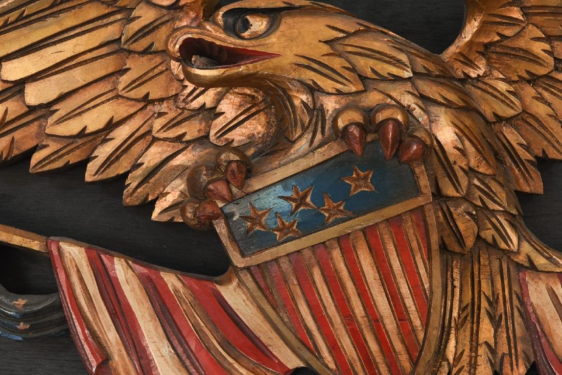 CARVED WOOD AND PAINTED EAGLE PLAQUE - 6