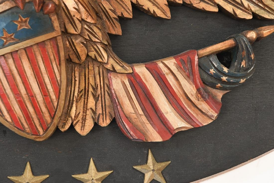 CARVED WOOD AND PAINTED EAGLE PLAQUE - 7
