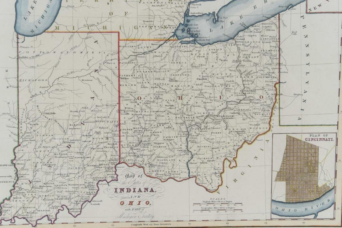 MAP OF INDIANA AND OHIO C. 1830 - 2