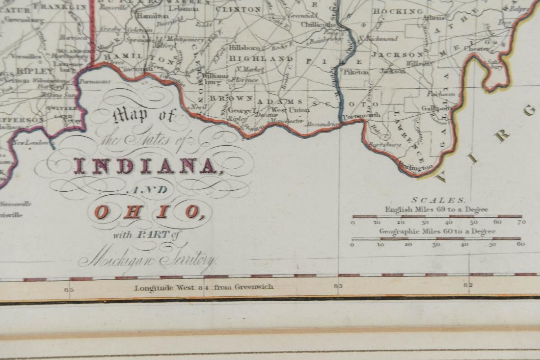 MAP OF INDIANA AND OHIO C. 1830 - 8