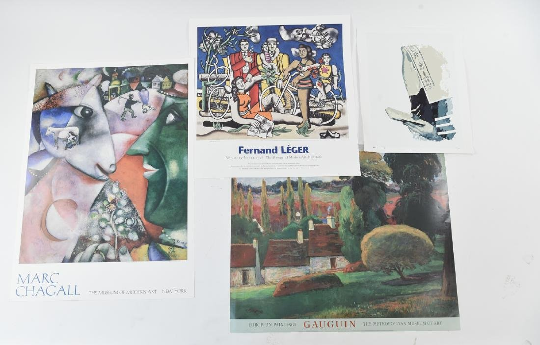 GROUPING OF (4) POSTERS INCL. CHAGALL & LEGER