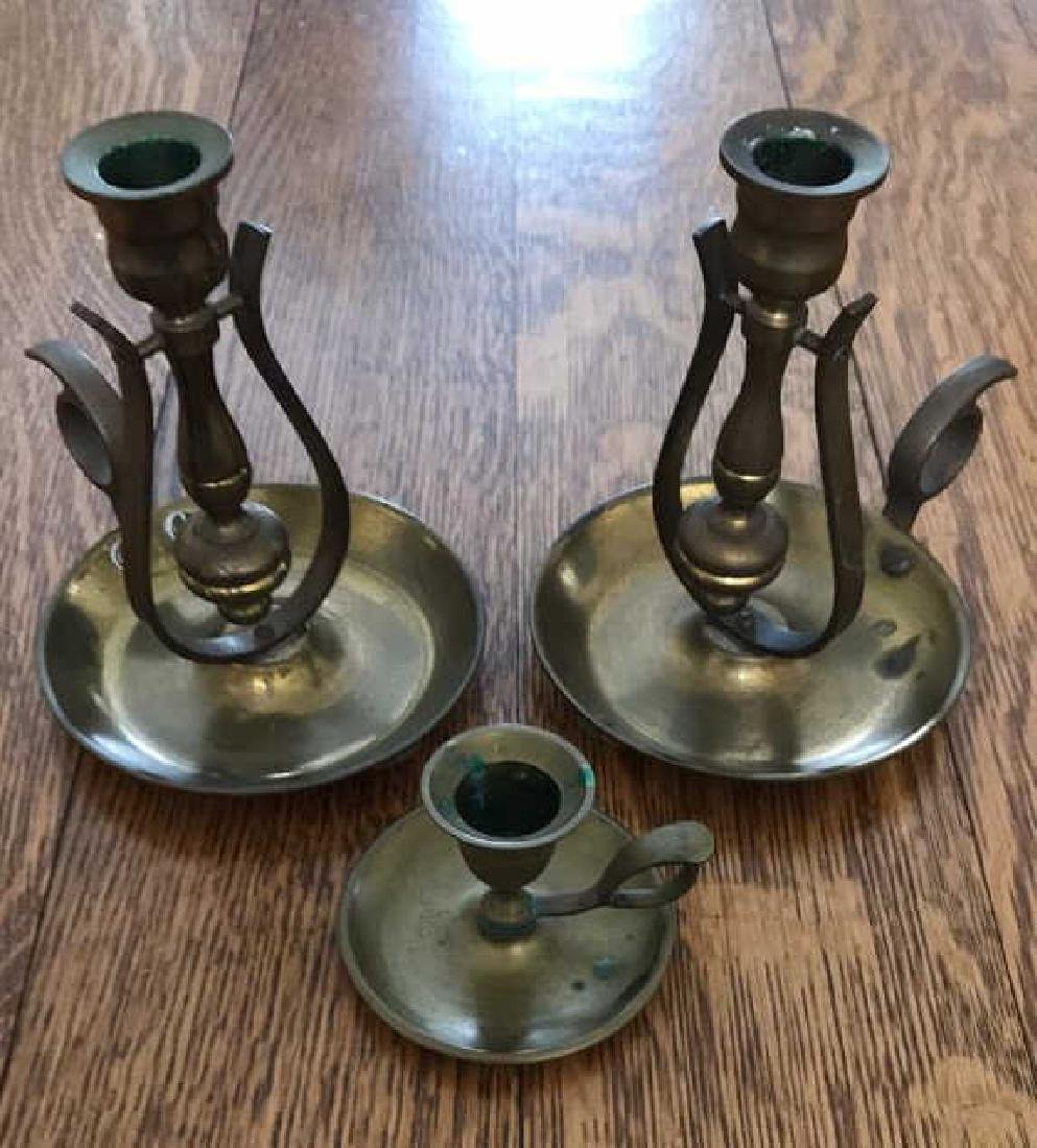 BRASS GIMBAL LAMP CANDLE HOLDERS