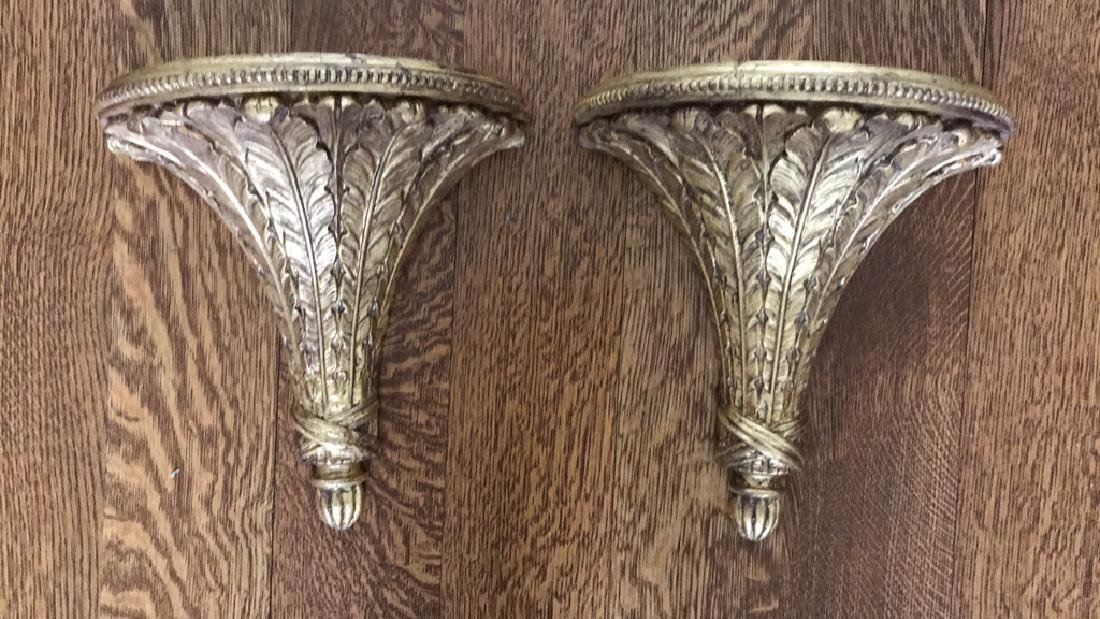 CARVED WOOD AND GILT SHEAF OF WHEAT WALL SHELVES