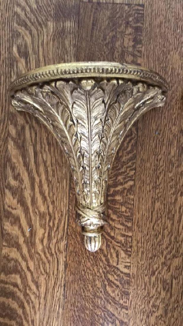 CARVED WOOD AND GILT SHEAF OF WHEAT WALL SHELVES - 2