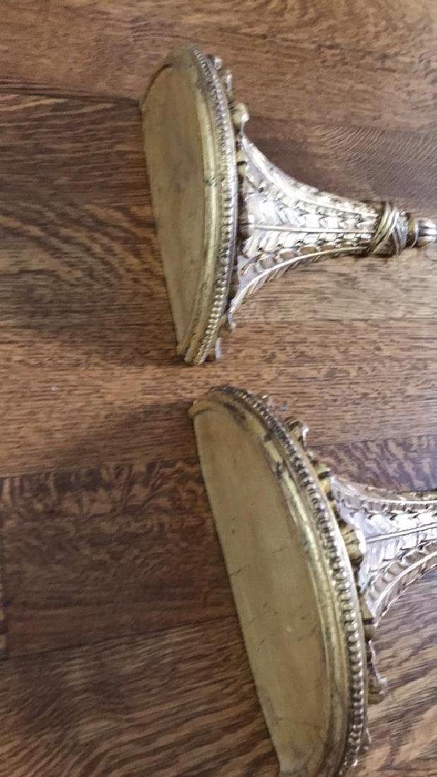 CARVED WOOD AND GILT SHEAF OF WHEAT WALL SHELVES - 4