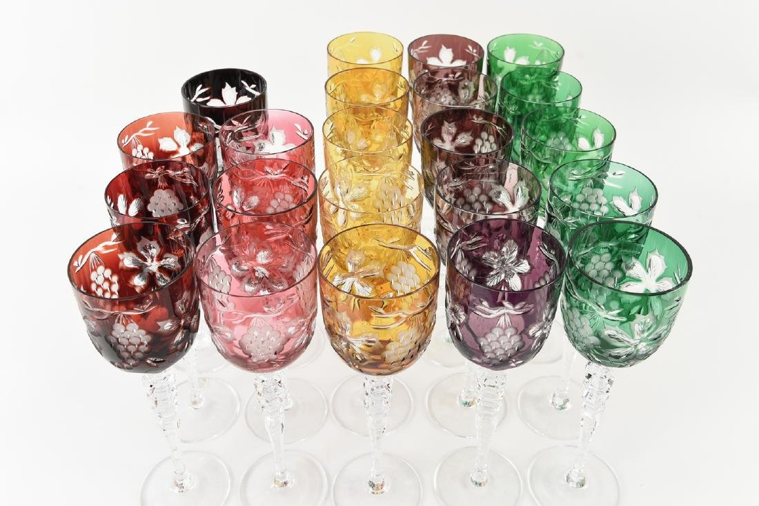COLORFUL HUNGARIAN HAND CUT CRYSTAL GOBLETS - 2