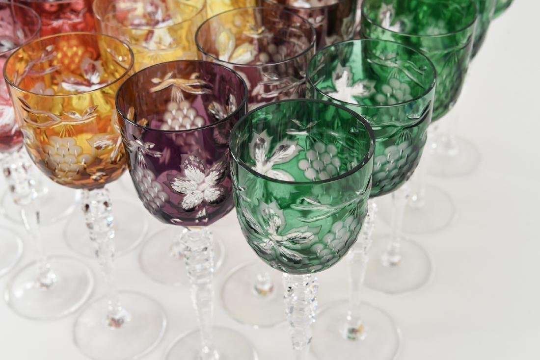 COLORFUL HUNGARIAN HAND CUT CRYSTAL GOBLETS - 3