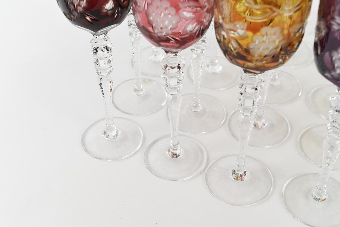 COLORFUL HUNGARIAN HAND CUT CRYSTAL GOBLETS - 5