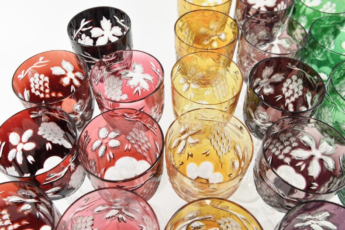 COLORFUL HUNGARIAN HAND CUT CRYSTAL GOBLETS - 6
